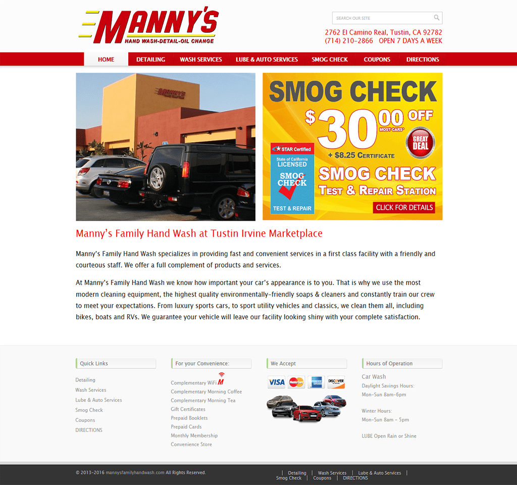 Custom wordpress website for Car Wash Services